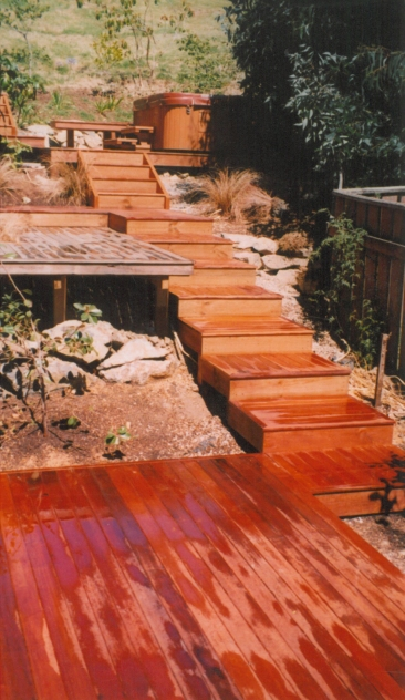 Garden stairs and landscaping